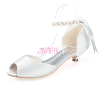 low heel wedding shoes ivory - Ivory Wedding Bridal Shoes For Brides Bridesmaids Peep Toe Cheap Evening Party Prom Dress Imitation Pearls Ankle Strap Low Heel Bow Sandals