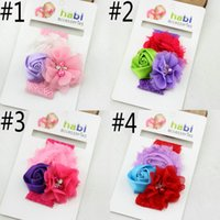 ribbon bow and flowers - 2015 NEW European and American baby headband baby hair band lace flowers Band Headwear Children Satin DIY Ribbon Hair Bows Hair Accessories