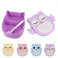 Wholesale Cute Cartoon Owl Lunch Box Food Fruit Container Plastic Storage Bento Box Spoon