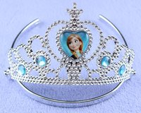 Cheap 2014 Sparking Crystal Cubic Z Frozen Anna Elsa Tiara Crown Hair Band Accessory For Children Girl Mix Models Wholesale