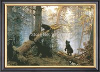 Wholesale Needlework Crafts Gift Home decor French DMC Quality Counted Cross Stitch Kit Set ct Oil Painting Morning In A Pine Forest