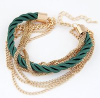 Wholesale Multi Layer chain Korean Fashion Popular Low key Luxurious Metal Chain Braided rope Bracelets For Women Pulseras Bijoux New
