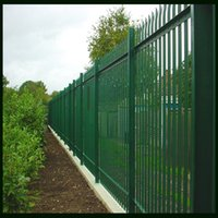 wrought iron fence - Wrought Iron Fence In Bright Green Color Applied To Forest Or Orchards Power Coated Surface Treatment