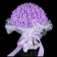purple wedding decorations - Bridal Wedding Bouquet High Quality Purple Wedding Decoration Artificial Bridesmaid Flower Rhinestone Pearl foam roses