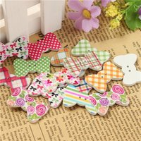 Wholesale Assoted Bow Tie Wood Buttons Checks Dots Flowers Painted Sewing Scrapbook Button