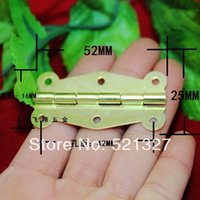 Wholesale 52 MM yellow plated hinges wooden boxes lace butterfly hinge degrees hole hinge strip