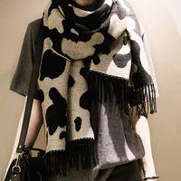 Nouveau Femmes Cow Stripe imprimé léopard écharpe en cachemire doux Glands Écharpes Châles Autumen Hiver Wraps chauds Livraison gratuite
