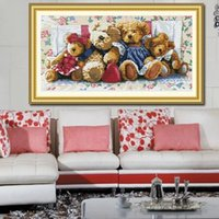 bear cross stitch - Bear family cross stitch kit Handmade DIY cross stitch sets stitching embroidery kits craft needlework wall home decoration