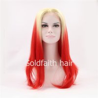 Cheap SF2 Free Shipping Straight Two Tone Ombre Blonde Red Lace Wig Heat Resistant Fiber Celebrity Synthetic Lace Front Party Wig