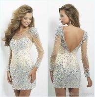 Wholesale 2014 hot sexy long sleeved chiffon beaded halter neckline long sleeve mini crystal sequins short evening dress cocktail dress