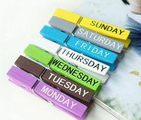 Wholesale box boxes Lovely Wood Week Clip Set Cute Memo Clip photo week clip