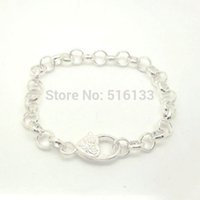Wholesale Strands Silver Plated Love Heart Lobster Clasp mm Link Opened Chain Bracelets cm Findings