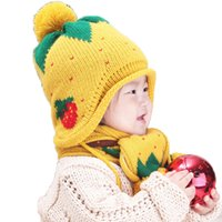Wholesale Retail Child Girls Beanies Bobbles Hat Sets Cute Strawberry Jacquard Kids Knit Baby Caps and Scarf Warm Pieces Suit Set MZ1630