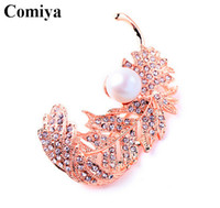 aqua mosaics - Statement trendy feathers brooches for women gold and silver plated pearl jewelry rhinestone mosaic broches new noiva brooch