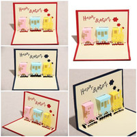 baby happiness - 100pcs Little Happiness Train Design Handmade Creative Kirigami Origami D Pop UP Birthday Cards for Baby Kids Shower