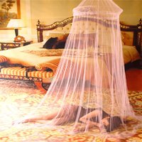 canopy - New Arrival Elegant Bed Canopy Round Lace Insect Mosquiteiro Door Solid Pink Mosquiteiro Net for Bed Klamboe House Bedding Decor