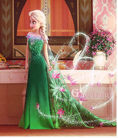 girls dress - Frozen fever girls dresses Birthday party girls elsa cosplay dress with long cape green elsa flower lace skirts kids costume long dress