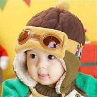 ball aviator - 1 Hot Kids Child Baby Winter Pilot Cap gorro Toddlers Aviator Earmuff Protect Beanie Hat Colors