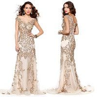 absolutely stunning dress - Absolutely Stunning Prom Evening Dress Sheer Bateau Neck V_cut Back Sheath Pageant Dress Appliques Gold Beading Illusion Bodice Celebrity