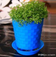 Wholesale Bonsai Planters Latest Breathable Plastic Table Mini Succulents Plant Pots with Plate Gardening Vase Round Flower Pot Colorful Orc