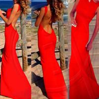 beach swing - Hot Sale Women Long Dress Sexy Backless Strapless Beach Swing Sun dress Dress Red Black White Plus Size zE3344