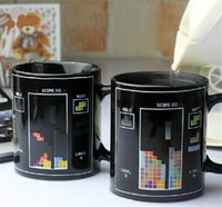 amazing coffee - 2015 best sale Russia box games color changing mug Amazing Ceramic Cup coffee milk cup temperature sensing cup