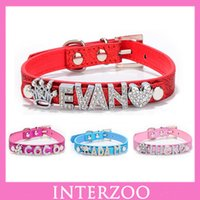 Wholesale MOQ piece DIY Dog Name Cute Puppy Customized Pet Products Bling Rhinestone Leather Personalized Pet Dog Collar XS S M L DC053