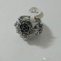 Cheap luxury special offer camellia style CZ and pearl set exaggerate big ring