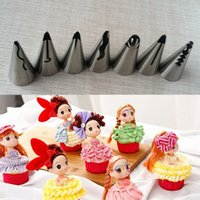 barbies dress - set Stainless Steel Russian Tulip Icing Piping Nozzles Wedding Cake Decorating Tips Sets Tulip Barbie Skirt Dress