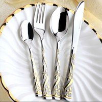 Wholesale Hot Sale Stainless Steel Gold Plated Flatware Set Cutlery Set Silverware
