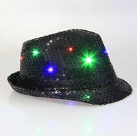 Wholesale Cool Unisex LED Flashing Glow Cotton Fabric Dome Hip Hop Hat Club Party Shiny Cap New Brand