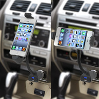 Wholesale Car phone Holder with usb Charger for IPhone degrees Rotation Mount Stand Black Color