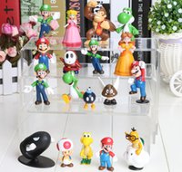 Wholesale NEW Super Mario Bros PVC Figure topper Super Mario nds Luigi Peach yoshi DHL