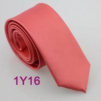 Wholesale BRAND NEW COACHELLA Coachella SKINNY Ties Coral Pink Solid Color Microfiber Woven Neckties SLIM Narrow Classic Business Neck Tie For Wedding