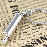 other auto exhaust parts - Fashion Auto Alloy Exhaust Pipe Keychain Car Accessories Parts Chrome Silvery Key Chain Ring Creative Muffler Keyring Key Fob In Stock