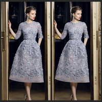 Cheap 2016 Elie Saab Evening Dresses Beautiful Applique Lace A-Line Formal 3 4 Long Sleeve Tea Length Sexy Party Prom Dress Gowns Exquisite Chic