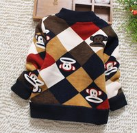Wholesale Baby warm boys sweater new add fluffy coat D5026 children new boutique children with thick sweaters for men and women sweater