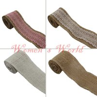Wholesale 12ROLLS White Lace cm Width Natural Hessian Burlap Ribbon for Wedding Event Party Gift Wrapping Decoration Product