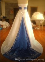 Wholesale 2015 Classic High quality Blue and White Brush Strapless Embroidery Beaded Wedding Dresses Bridal Gowns