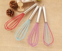 Wholesale 10 quot Silicone Coated EGG Whisk EGG beater stainless Steel Handle Kitchen Gadget