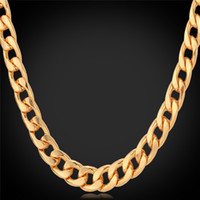 Celtic cuban link chain - New Trendy Men Jewelry Necklaces Pendants K Real Gold Plated MM Chunky Cuban Link Chains Necklaces N755