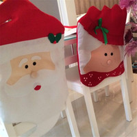 Wholesale 2015 Newest Red D Christmas Grandpa and ma Santa Clause Hat Chair Back Covers for Christmas Dinner Decoration