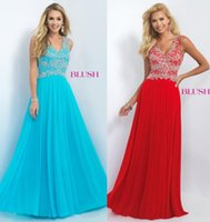art deco fabric - Lace Beading Prom Dresses Red Slight Sky Blue Formal Long Party Gowns With V Neck Zip Back Floor Length Chiffon Fabric Free Custom Made