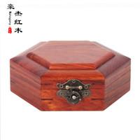 antique mahogany box - Six angle rosewood jewelry box beads bracelets box wood carving elegant mahogany antique collection box surface storage box
