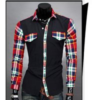 tommy shirt - hot new casual shirts fashion mens slim fit brand camisetas masculinas Slim hit color stitching men s plaid long sleeved shirt fitness tommy