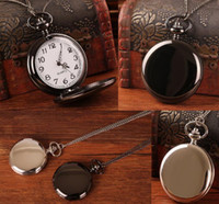 Wholesale Classic Watches Black White Smooth Case Full Hunter Mens Hand Winding Mechanical Pocket Watch Steampunk Women Gifts