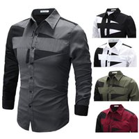 Wholesale 2017spring and summer slim male personality black and white patchwork long sleeve shirt fashion casual shirt