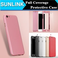 Wholesale Ultra thin Hard Hybrid PC Full Body Coverage Protective Case Cover Skin with Slim Tempered Glass Screen Protector for iPhone s Plus