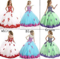 Wholesale 2015 Hot Sale Lovely Little Girls Pageant Dresses Sheer Neck Sleeveless Beaded Lace Applique Long Ball Gown Flower Girl Dresses