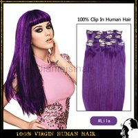 Straight 24 inch clip in human hair extensions - Clip In Human Hair Extensions inch inch pieces and pieces Remy Human Hair Brazilian Virgin Hair Straight Purple Hair Extentions